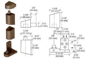 CRL D Bronze Offset Right Hand Pivot Set Flush w/ Frame Face - 0P34RHDU