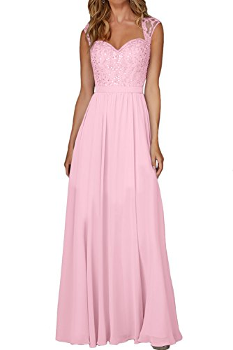 Rosa Elegant Damen Festkleid Lang Chiffon Ivydressing Promkleider Ballkleid Herzform Abendkleider y0fp1wBUz