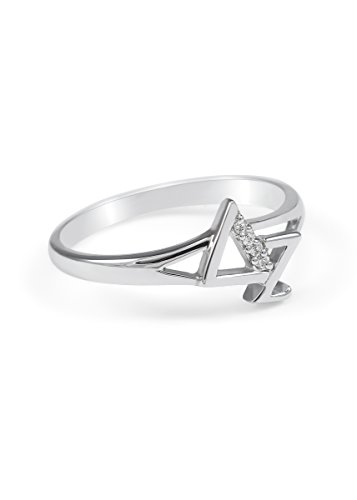Delta Zeta Sterling Silver Diagonal Ring set with Czs (4 Czs Sterling Silver Ring)