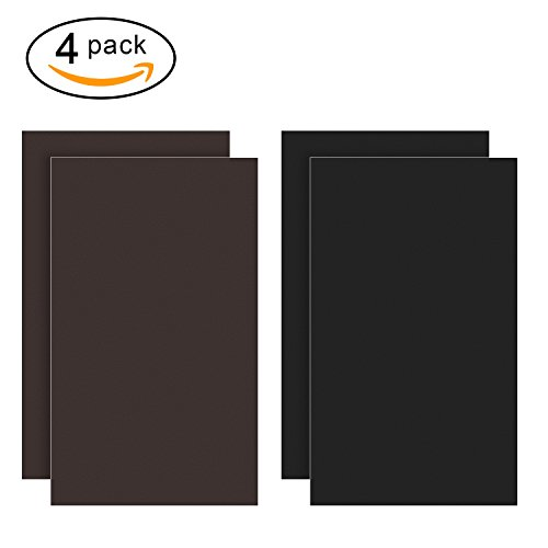 Micobin 4Pcs Self-adhesive Leather Repair Patch, Premium Leather Couch Patch, Peel and Stick for Sofas, Car Seats, Leather Furniture, Handbags-6 x 10 Inch (Black and (Satin Peel)