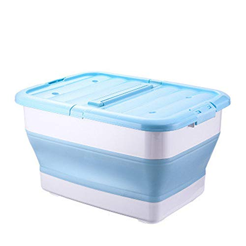 - LYWNB Collapsible Baby Bathtub,Underbed Storage Box with Double Door,Multi-Function Telescopic Barrel with Lid Folding Storage Bucket Car Sundries Box,Blue