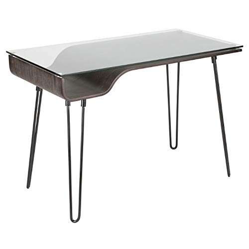 Lumisource Avery Mid-Century Modern Desk, Dark Gray/Black ()