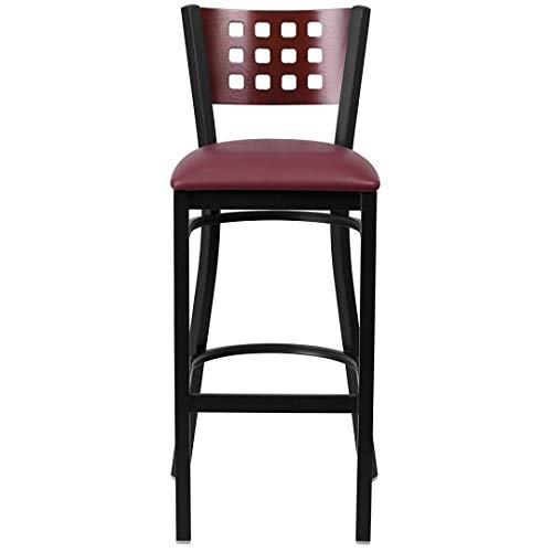 Modern Style Metal Dining Bar Stools Pub Lounge Restaurant Commercial Seats Mahogany Wood Cutout Back Design Black Powder Coated Frame Finish Home Office Furniture - (1) Black Vinyl Seat #2207 by KLS14 (Image #3)