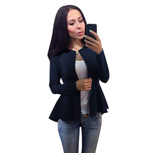 Unie Couleur Fonc Slim Femme Bleu Automne Manteau Blazer Coat Yuanu Longues Manches Revers Mode xO4S0Ywnq