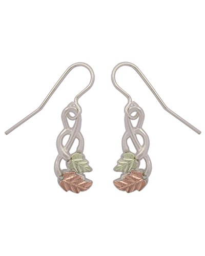 Fancy Scroll Inlaid Leaf Earrings, Sterling Silver, 12k Green and Rose Gold Black Hills Gold Motif by The Men's Jewelry Store (for HER)