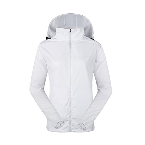 - LeoVera Unisex UV Protect Quick-Dry Lightweight Windbreaker Outdoor Hoodie Skin Coat Skin Jackets LVPFY118-White-L