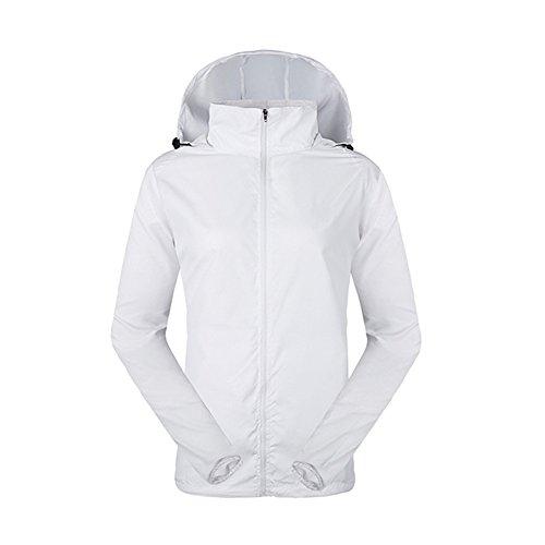 LeoVera Unisex UV Protect Quick-Dry Lightweight Windbreaker Outdoor Hoodie Skin Coat Skin Jackets LVPFY118-White-L ()