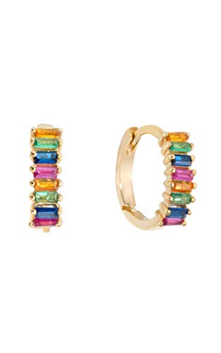 Shashi Women's Teagan Rainbow Crystal Huggie Earrings, Gold Plated, One Size