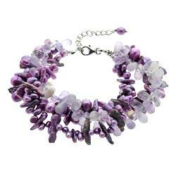 CrystalAge Amethyst & Freshwater Pearl Bracelet with Clasp ()