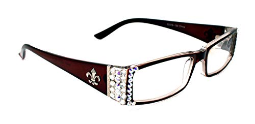 The French, Fleur De Lis, Rectangular Bling Women Reading Glasses Adorned with Clear + AB (Aurora Borealis) Swarovski Crystals +1.00 +1.50 +1.75 +2.00 +2.25 +2.50 +2.75 +3.00 BROWN Frame ()