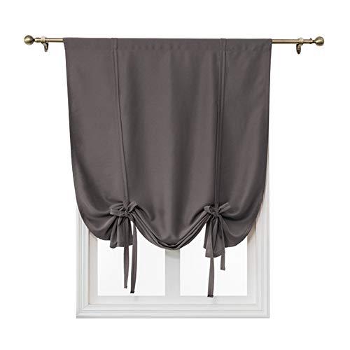 (Jian Ya Na Burgundy Tie-Up Shade Curtain Window Treatment 1 Panel Rod Pocket Light Blocking Blackout Curtain Solid Short Curtains for Small Window (Dark Grey, 47