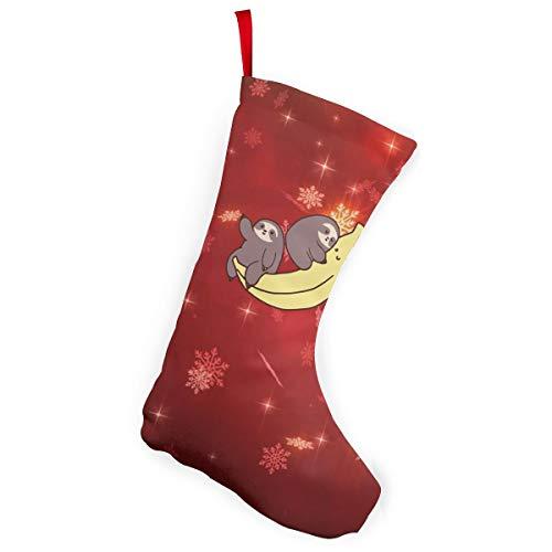 Sloths And Giant Banana Christmas Stockings Christmas Xmas Tree Fireplace -