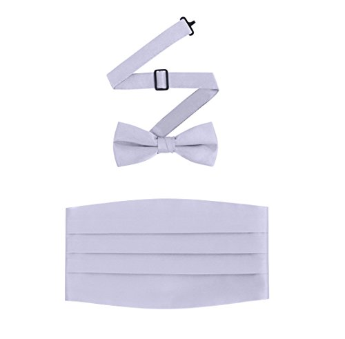 Men's Formal Satin Bowtie and Cummerbund Set - Silver, By S.H Churchill (Cummerbund Silver)