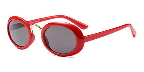 De Bozevon Classique Rétro gris Homme Soleil Rouge Femme Unisexe Mode Lunettes Ovale q88AxO1