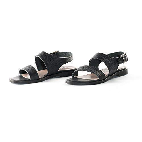 e26ae28f383d Image Unavailable. Image not available for. Color  Black Textured Italian  Leather Flat Sandals