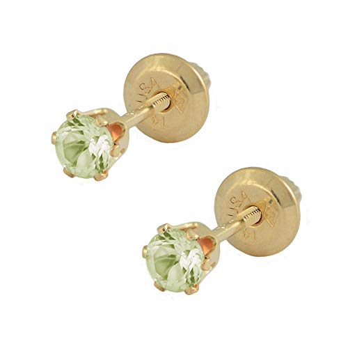 14K Yellow Gold Genuine Peridot Girls Stud Earrings - August Birthstone
