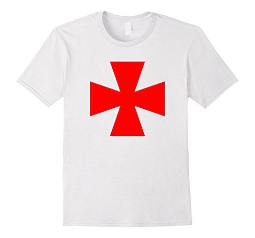 Men's Templar Cross Shirt Red Knight Cross Dress Up Costume Shirts XL White (Mens Templar Knight Costume)