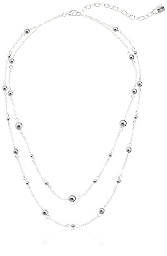 Chaps Necklace - Chaps Women's Double Strand Bead Strand Necklace, Silver