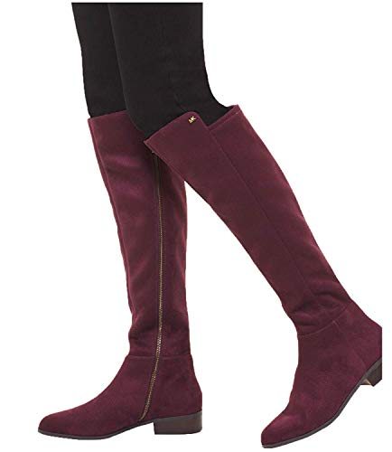 - Michael Kors Womens Bromley Boot Closed Toe Knee High Fashion, Damson, Size 8.5