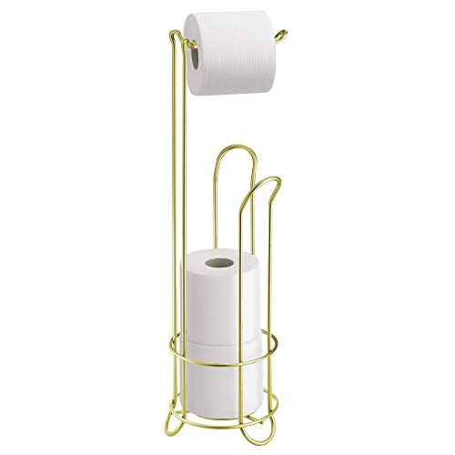 Brass Standing Toilet Tissue Stand - InterDesign Classico Metal Toilet Tissue Roll Reserve Organizer for Bathroom, Compact Organizer, Holds 4 Rolls of Toilet Paper, Gold and Brass