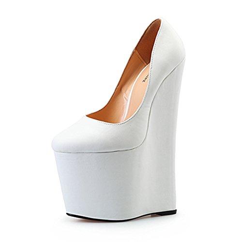 d2a54fcb82544 high-quality Leeminus Women's Faux Leather Wedge Heel Platform Pump ...
