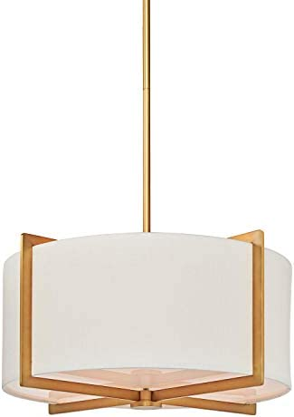 MOTINI 3-Light Drum Pendant Light, Classic Ceiling Pendant Chandelier Fixture with Drum Shade, Brass Finish Hanging Lights Chandelier with Adjustable Rod, ETL Listed