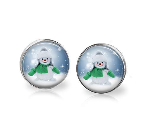 Snowman Earring Studs Stainless Steel Handmade 12mm Snow Man Winter