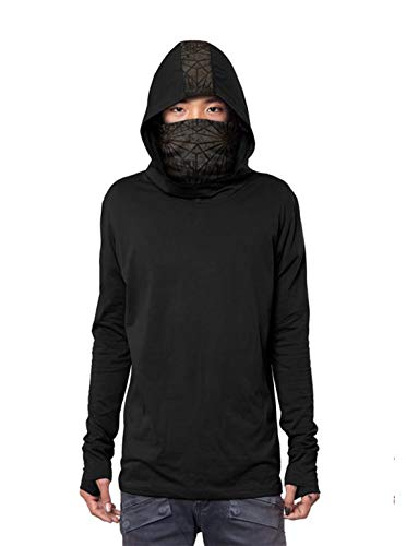 Men's Kusari Hoodie Japanese Ninja Cowl Neck Black Print Pullover Outwear ()