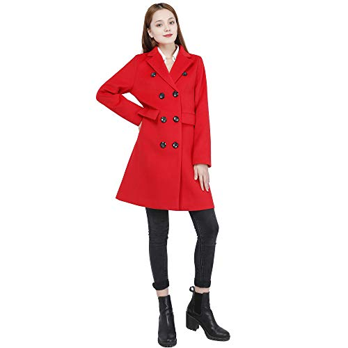 Women Swing Double Breasted Wool Pea Coat Long Sleeve Pocket Winter Fall Warm Coat Overcoat (red, M)