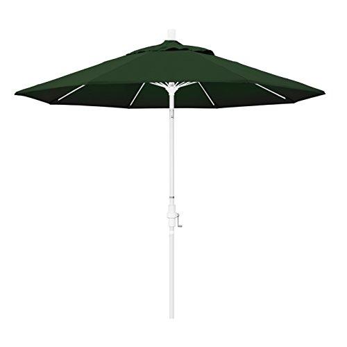 California Umbrella 9' Round Aluminum Pole Fiberglass Rib Market Umbrella, Crank Lift, Collar Tilt, White Pole, Pacifica Hunter Green (Patio Umbrella White Pole)