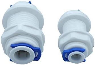 Wang shufang WSF-Adapters 1//4 or 3//8 Equal Bulkhead Union Connector Quick Connect RO Water System Reverse Osmosis Aquarium Fitting Size : 1//4 2 Different Size