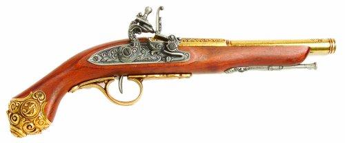 Pistola de chispa Denix del siglo XVIII con mango de latón adornado a tope - Réplica sin disparo