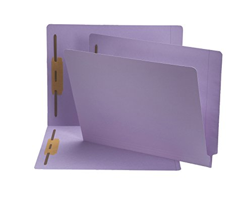 (Smead End Tab Fastener File Folder, Shelf-Master Reinforced Straight-Cut Tab, 2 Fasteners, Letter Size, Lavender, 50 per Box (25540))