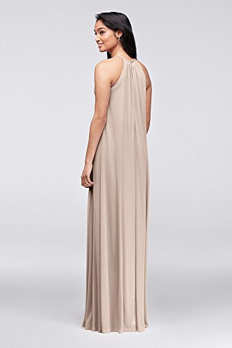 David s Bridal Soft Mesh Halter Bridesmaid Dress With Slim Sash Style F19533 e8a5bd80c
