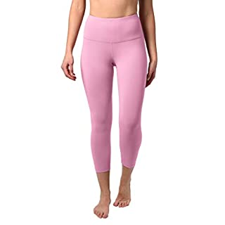 """90 Degree By Reflex High Waist Squat Proof Capris - 22"""" Interlink Workout Capris - French Pink - XS"""
