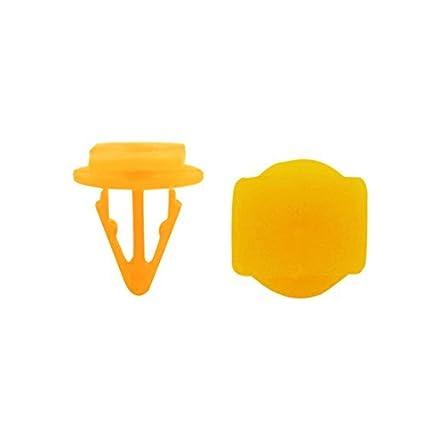 eDealMax 40Pcs remaches de plástico Alfombra Alfombra de piso Clips 10 mm Diámetro del agujero Amarillo