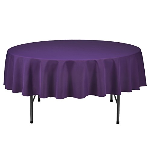 Silk Love Tablecloth - 70 Inch dia -Purple-round Polyester Table Cloth, Wrinkle,Stain Resistant - Great for Buffet Table, Parties, Holiday Dinner & More - Round Buffet Table Clothes