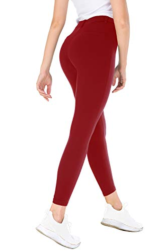 Bamans Yoga Dress Pants,Tummy Control Workout Leggings for Women, Office Strechy Skinny Pants, Deep Red L