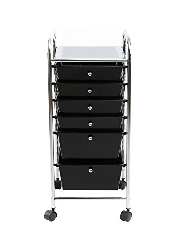 Finnhomy 6Drawer Rolling Cart Organizer,Storage Cart with Drawers, Utility Cart for School, Office, Home, Beauty Salon Storage, Smoke