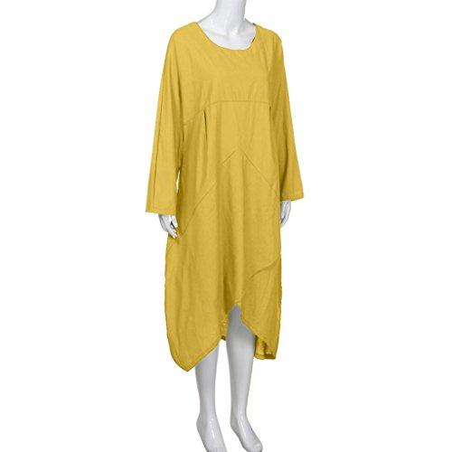 Manga Estilo Estilo amarillo y Talla Mujer Vestido Lino 3 para Grande Vestido Bohemio Casual Suelto Vintage Liso Saihui Algodón 4 Largo asimétrico Color wqBxaRzwng