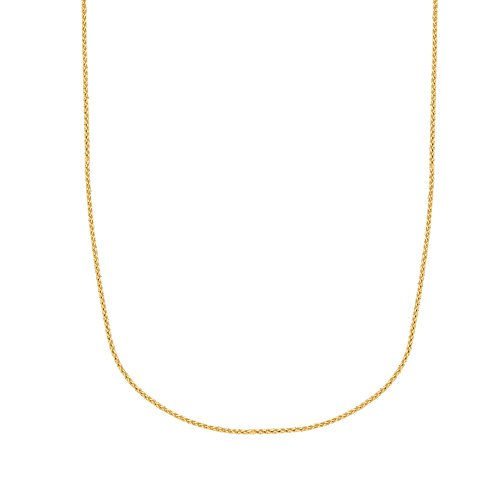 Ritastephens 10k Solid Yellow Gold Round Wheat Chain Necklace 1.0 Mm 16 Inches