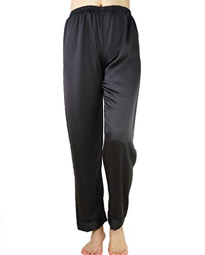 (Wantschun Womens Satin Silk Sleepwear Long Pajamas Pants Nightwear Loungewear Pj Bottoms Trousers Black US Size S)