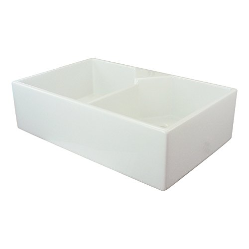 Transolid FUDT32209 Villa 31.5-in x 19.7-in x 8.7-in Double Bowl Thick Wall Farmhouse Fireclay Kitchen Sink, White, L x 19.6875-in W x 8.5-in H ()