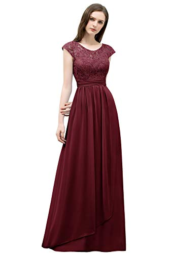 MisShow Womens Long Prom Lace Applique Dress Formal Bridesmaid Wedding Gowns