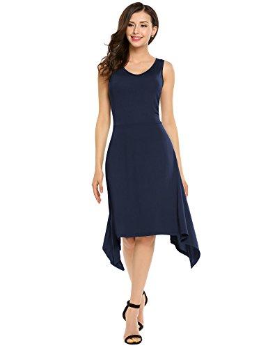 Women's Midi Casual Navy Summer Burlady Neck O Blue Party Dresses Sleeveless Dress w74fYxYdqa
