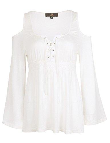 ISASSY - Camiseta de manga larga - Ajustada - Clásico - Manga Larga - para mujer blanco