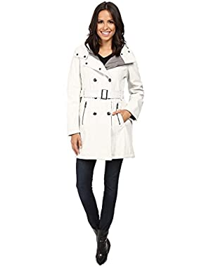 Calvin Klein Womens Double Breasted Belted Hooded Softshell