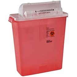 Covidien 8537SA SharpSafety Safety In Room Sharps Container Counterbalance Lid, 3 gal Capacity, Transparent Red (Pack of 10)