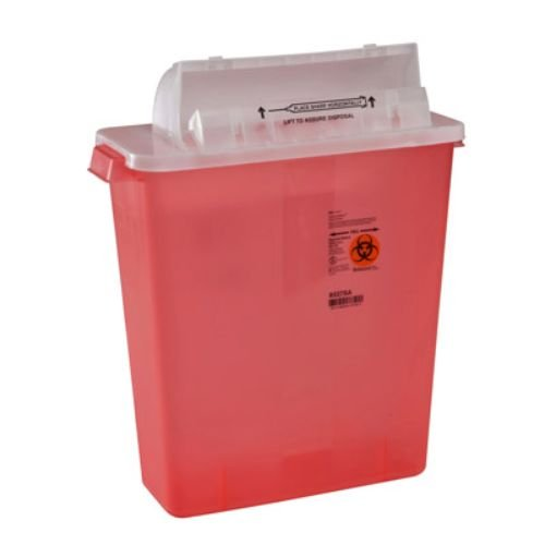 Covidien 8537SA SharpSafety Safety in Room Sharps Container Counterbalance Lid, 3 gal Capacity, Transparent Red (Pack of 10) by COVIDIEN