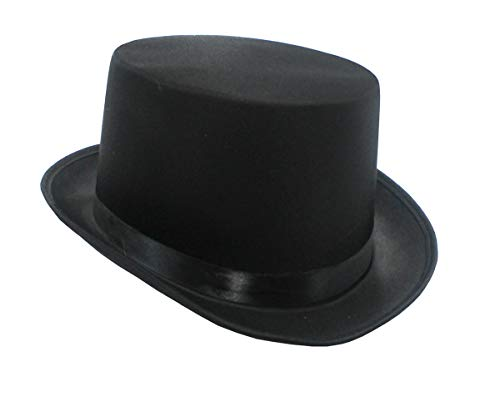 Jacobson Hat Company Men's Permasilk Top Hat (5 Inch Tall), Black, Adult Large (Company Hat Top)
